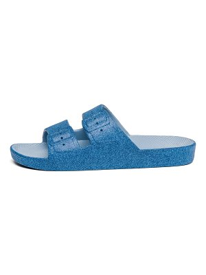 Freedom Moses blue jeans-print two-strap slides