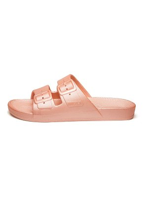 Freedom Moses darling metallic two-strap slides