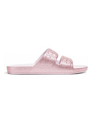 Freedom Moses Glittered Faux Dual-Buckle Slide Sandals