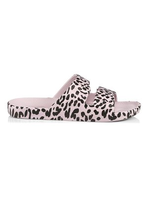 Freedom Moses leopard-print moses 2-strap slides