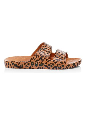 Freedom Moses leopard-print two-strap slides