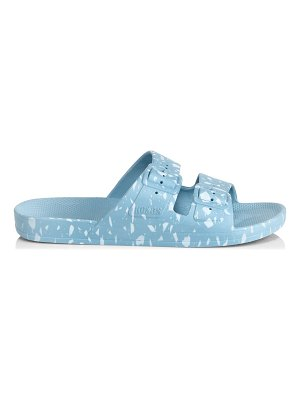 Freedom Moses white terrazzo moses 2 band slide sandals
