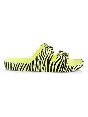 Freedom Moses zebra two-band slide sandals