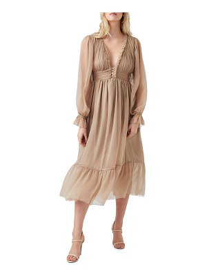 French Connection alta pleated lone sleeve dress