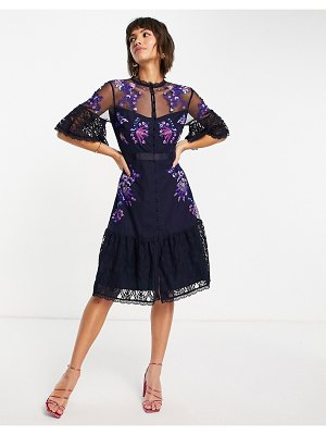 French Connection bina embroidered mini dress with flutter sleeves in utility blue-blues