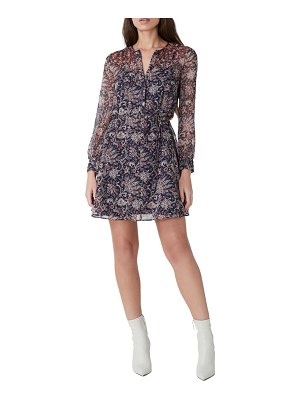 French Connection crinkle tie waist long sleeve dress