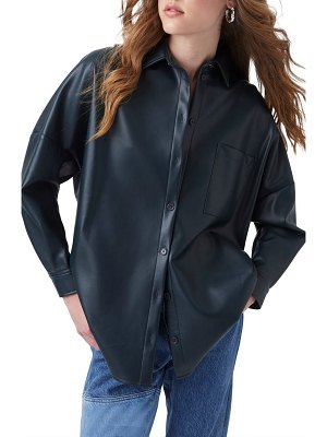 French Connection crolenda faux leather shirt