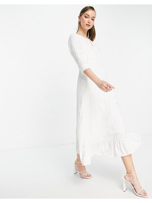 French Connection dija embroidered midi dress in white