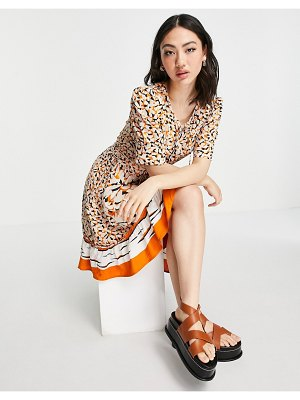 French Connection ellie patterned mini dress in orange multi