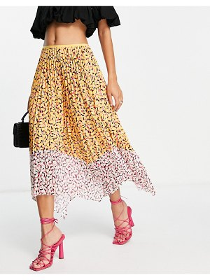French Connection ezeke pleated midi skirt in multi