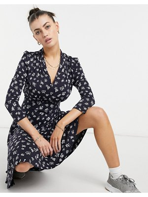 French Connection fayola meadow mini dress in blue multi-blues