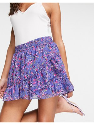 French Connection flores mini skirt in blue-blues