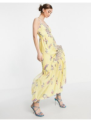 French Connection flores sleeveless maxi dress in yellow