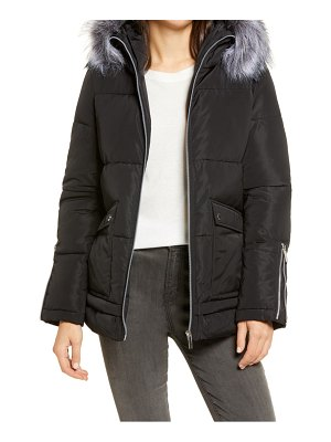 French Connection hooded puffer coat with faux fur trim