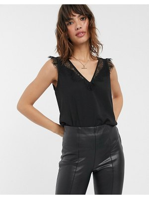 French Connection lace trim tank-black