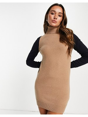 French Connection milla knitted mini sweater dress with roll neck in multi color block