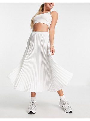 French Connection pleated midi skirt in white