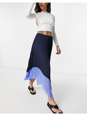 French Connection pleated skirt in black with blue contrast hem-multi