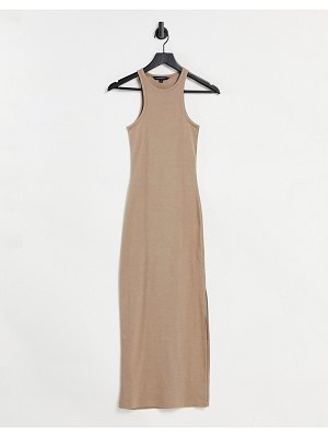 French Connection rasha jersey racer back dress in camel-white