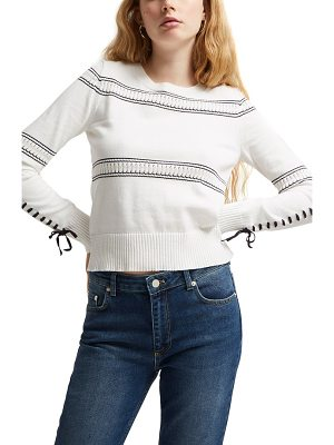 French Connection skye lace-up sleeve sweater