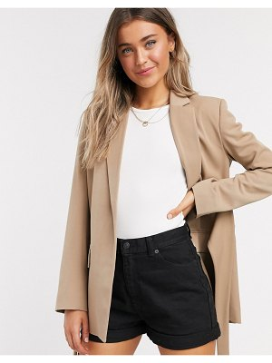 French Connection tie waist tailored jacket in camel-brown