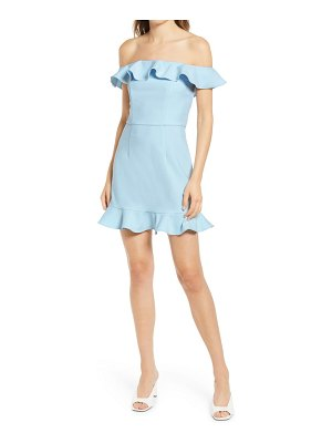 French Connection whisper off the shoulder ruffle dress