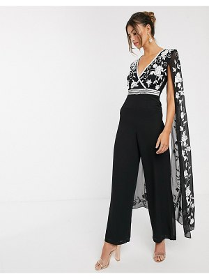 Frock and Frill frock & frill contrast embroidery cape jumpsuit-black