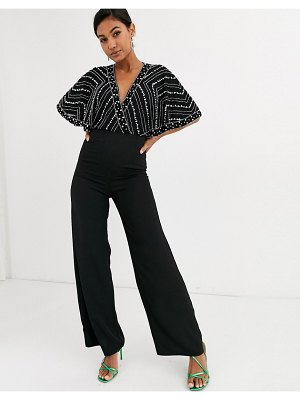 Frock and Frill frock & frill embellished cape detail jumpsuit-black