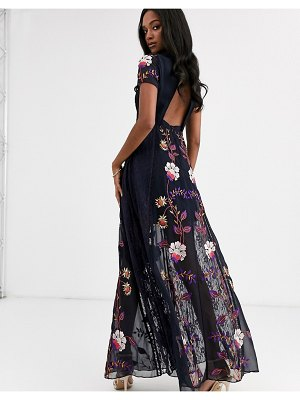 Frock and Frill frock & frill embellished cut out back short sleeve maxi dress-navy