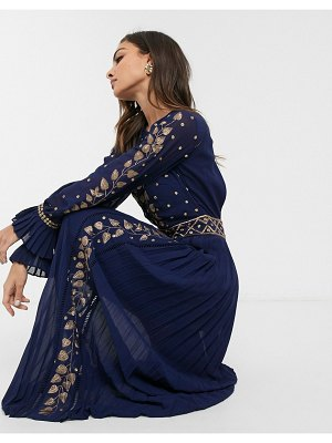Frock and Frill frock & frill embellished detail long sleeve maxi dress-navy