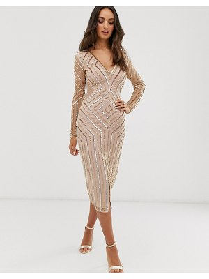 Frock and Frill frock & frill embellished v neck long sleeve midi dress-gold