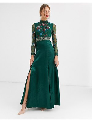 Frock and Frill frock & frill embroidered long sleeve maxi dress-green