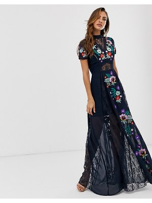 Frock and Frill frock & frill embroidered short sleeve maxi-black