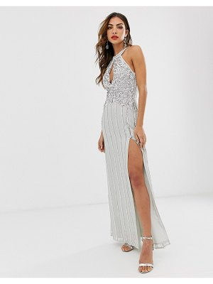 Frock and Frill frock & frill high embellished sleeveless maxi dress-gray