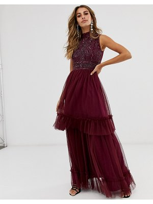 Frock and Frill frock & frill high neck highly embellished sleeveless midi dress-purple