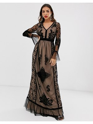 Frock and Frill frock & frill lace detail long sleeve maxi dress-black