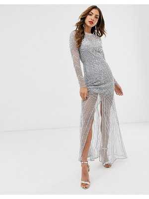 Frock and Frill frock & frill long sleeve high embellished maxi dress-gray