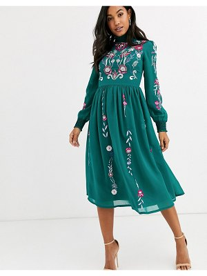 Frock and Frill frock & frill long sleeve high neck embroidered midi dress-green