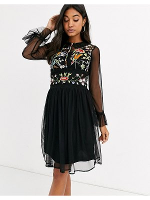 Frock and Frill frock & frill mesh long sleeve embroidered detail collar dress-black