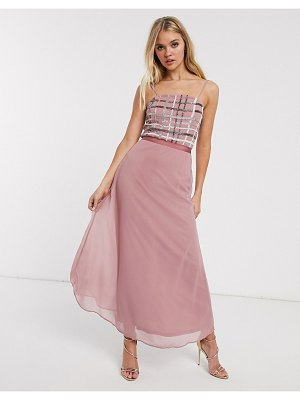 Frock and Frill frock & frill metallic check detail slip midi dress-pink