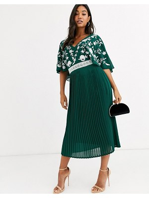 Frock and Frill frock & frill monochrome embroidered upper midi dress-green