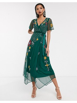 Frock and Frill frock & frill short sleeve embellished wrap midi dress-green