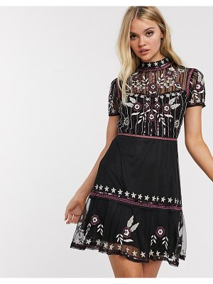 Frock and Frill frock & frill short sleeve embroidered skater dress-black