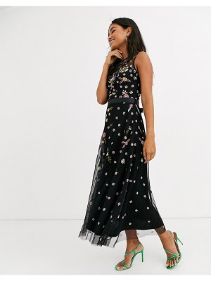 Frock and Frill frock & frill sleeveless embroidered midi dress-black