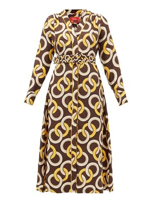 F.R.S - FOR RESTLESS SLEEPERS clizio belted chain-print silk-satin dress