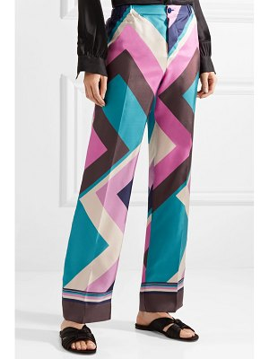 F.R.S For Restless Sleepers etere printed silk-twill straight-leg pants