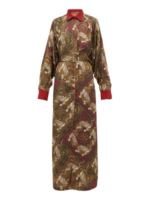 F.R.S - FOR RESTLESS SLEEPERS febo belted tiger-print cloqué gown