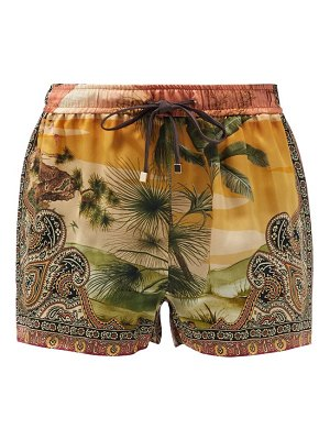 F.R.S - FOR RESTLESS SLEEPERS glauca palm-print silk-satin shorts