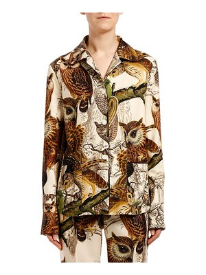 F.R.S For Restless Sleepers Owl Wool Button-Front Shirt