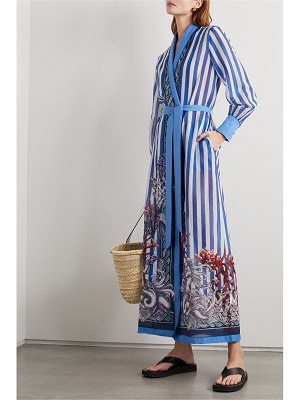 F.R.S For Restless Sleepers tharos belted printed cotton and silk-blend kaftan